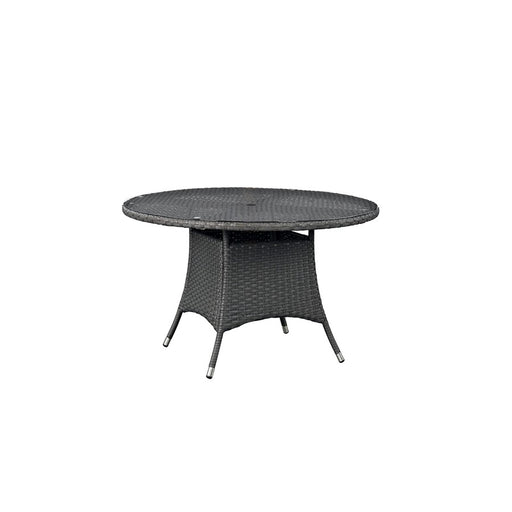 Modway Sojourn 47-inch Round Outdoor Patio Dining Table, Chocolate