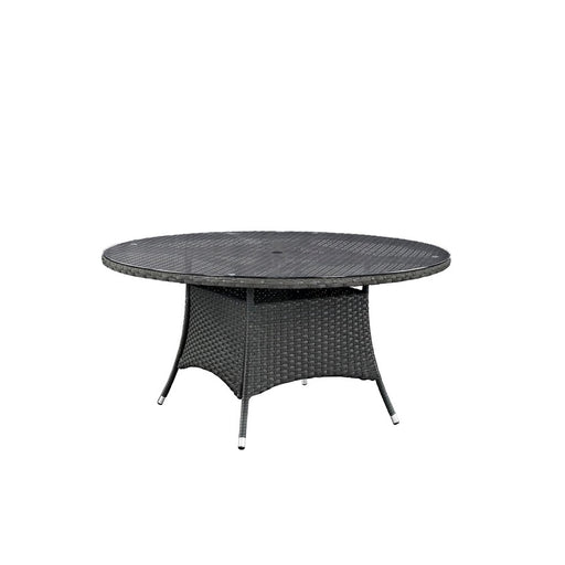 "Modway Sojourn 59"" Round Outdoor Patio Dining Table, Chocolate"