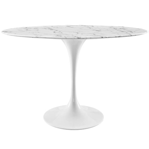 "Modway Lippa 48"" Oval Artificial Marble Dining Table, White"