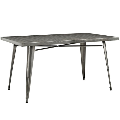 "Modway Furniture Alacrity Metal 59.5""W Dining Table, Gunmetal"