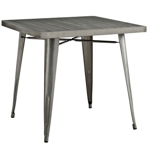 "Modway Furniture Alacrity Metal 32""W Dining Table, Gunmetal"