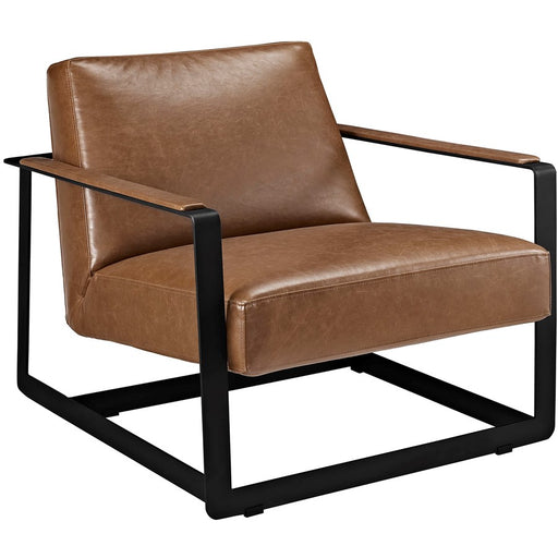 Modway Furniture Seg Vinyl Accent Chair, Brown