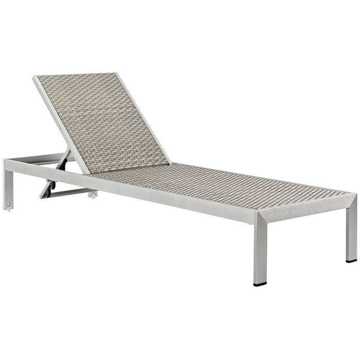 Modway Shore Patio Aluminum Chaise in Rattan, Silver Gray - EEI-2250-SLV-GRY