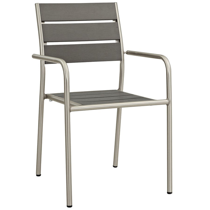 Modway Shore Outdoor Patio Aluminum Dining Chair, Silver Gray - EEI-2258-SLV-GRY