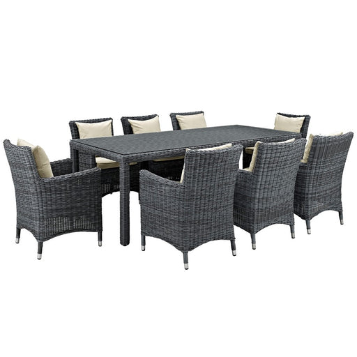 Modway Summon 9 Pc Set, 8 Armchairs/1 Table