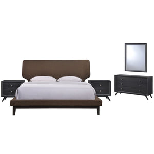 Modway Bethany 5 Pc Queen Bed Set w/ 2 Nightstands