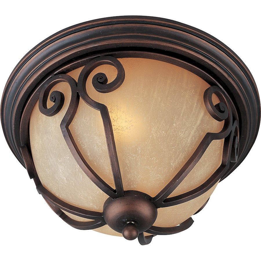 Maxim La Scalla 2-Light Flush Mount, Weathered Copper