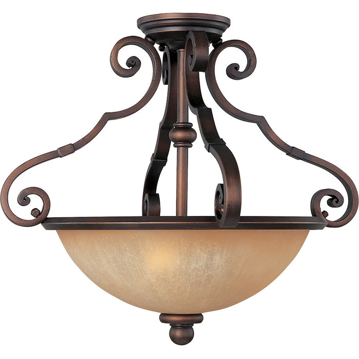 Maxim La Scalla 3-Light Semi-Flush Mount, Weathered Copper