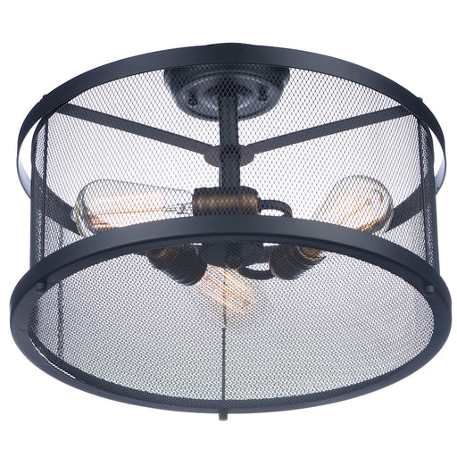 Maxim Lighting Palladium 3 Light Flush Mount, Black/Brass