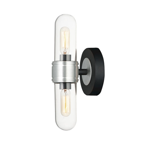 Maxim Lighting Dual 2-Light Wall Sconce, Black/Brushed Aluminum