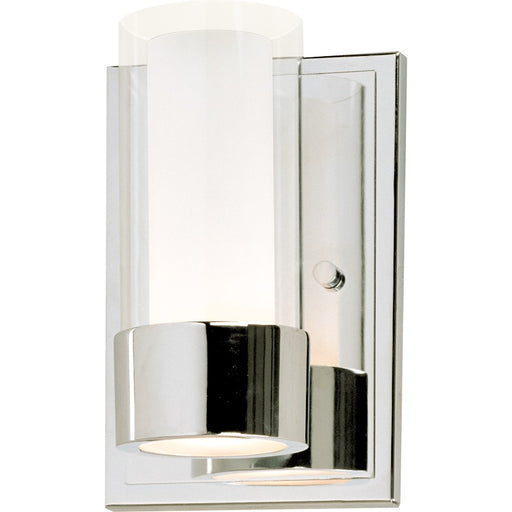 Maxim Lighting Silo Sconce, LED Bulb, Chrome/Clear/Frosted - 23071CLFTPC-BUL