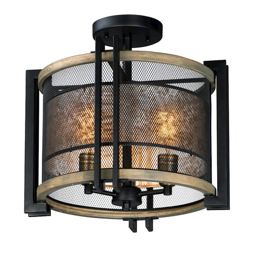Maxim Lighting Boundry 3-Light Flush Mount, Black/Barn Wood/Brass