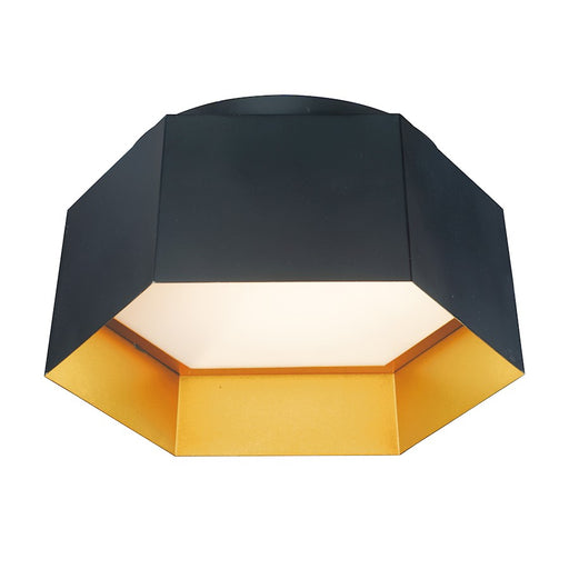 Maxim Lighting Honeycomb 1-Light LED Flush Mount, Black/Gold