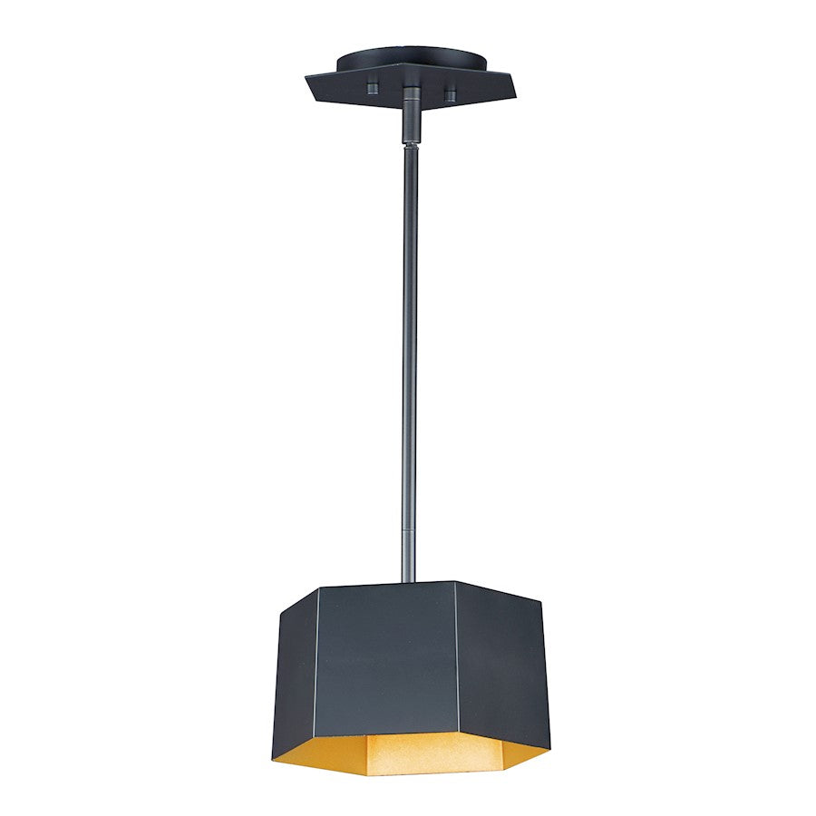 "Maxim Lighting 8"" Honeycomb 1-Light LED Pendant, Black/Gold"