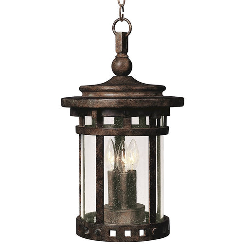 "Maxim Santa Barbara Cast 3-Light 17"" Outdoor Hanging Lantern, Sienna"