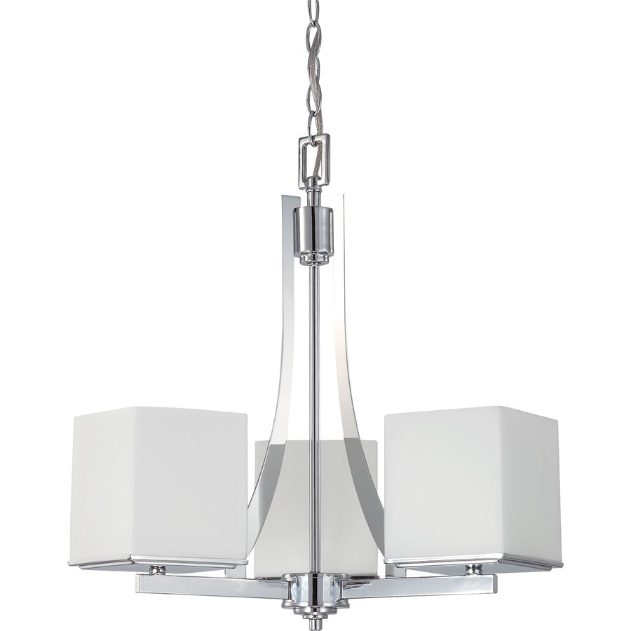Nuvo Lighting Bento 3 Light Chandelier w/ Satin White Glass