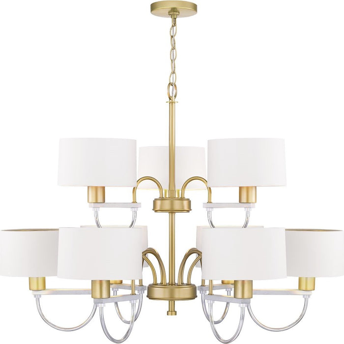 Progress Lighting Rigsby Chandelier, White /Vintage Gold