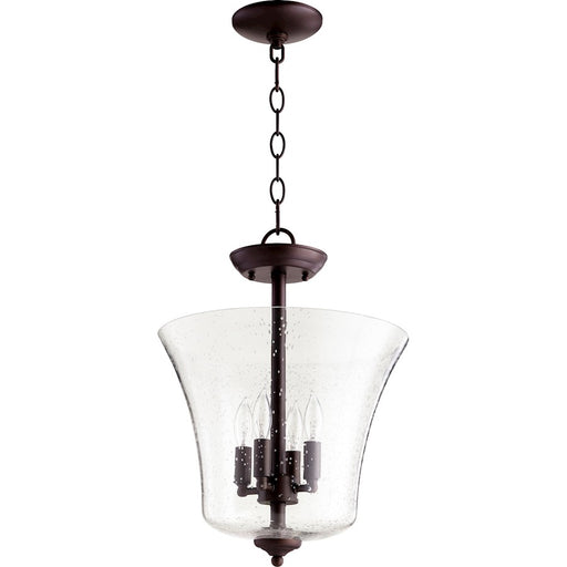 Quorum 4 Light Dual Mount, Oiled Bronze/Clear Seeded Glass