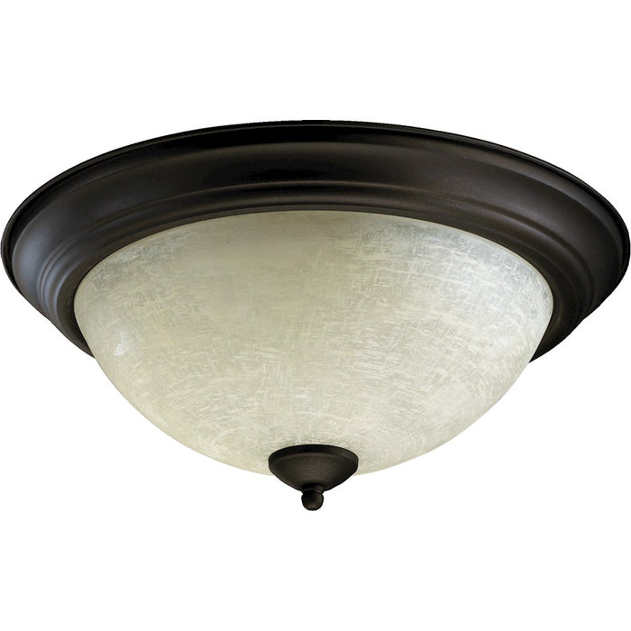 Quorum Light Flush Mount, Oiled Bronze/Linen