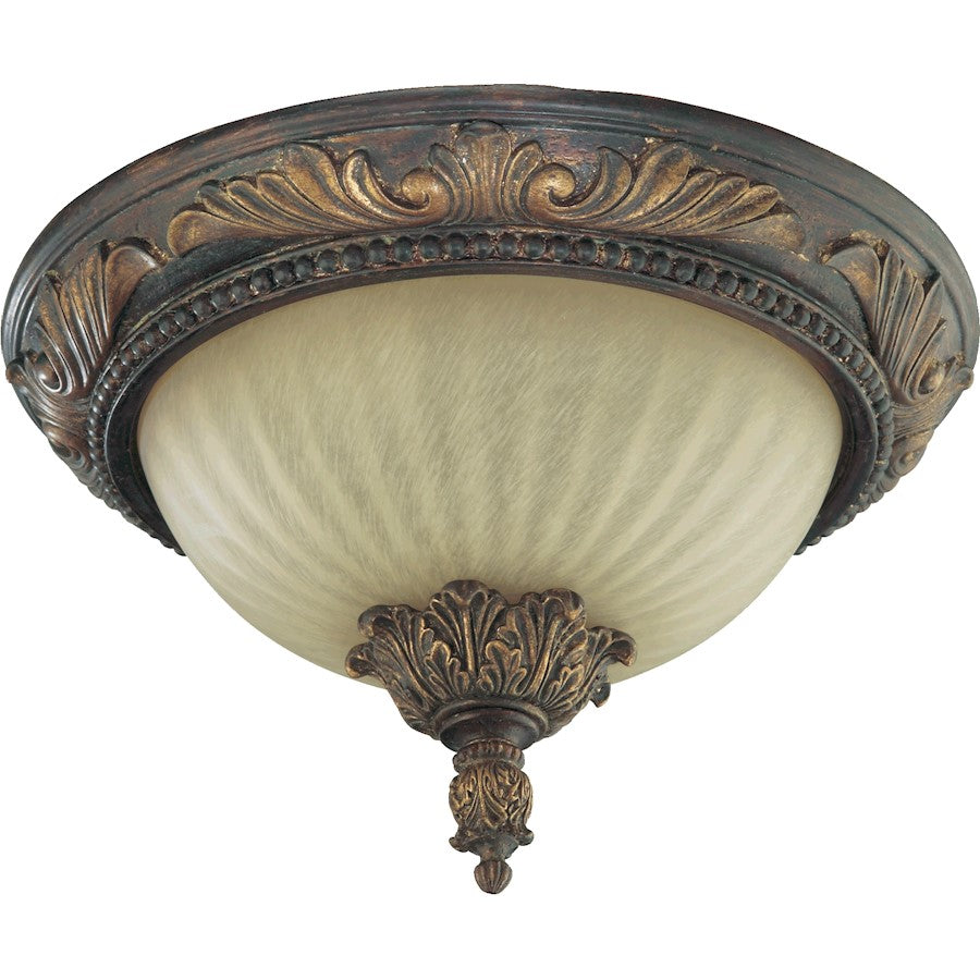Quorum Madeleine 2 Light Flush Mount, Corsican Gold