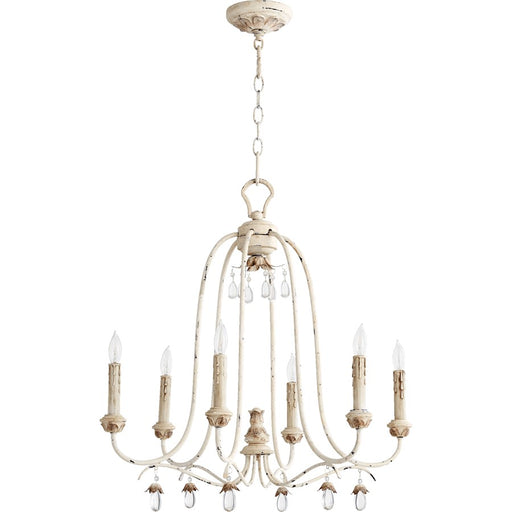 Quorum Venice 6 Light Candelabra Chandelier, Persian White