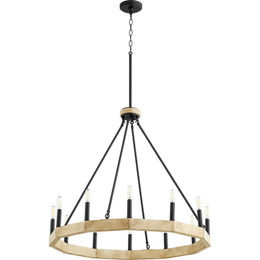 Quorum Alpine Chandelier, Noir with Driftwood