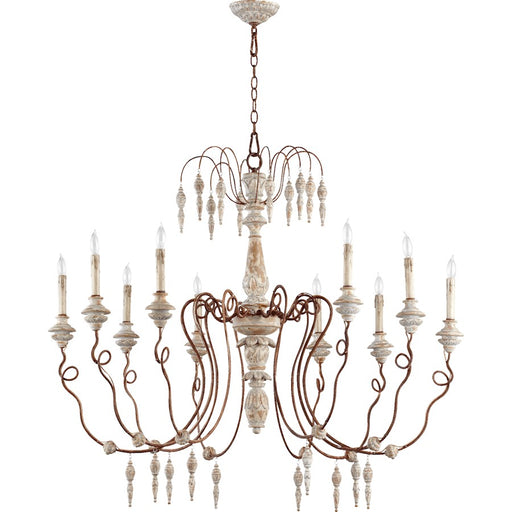 Quorum La Maison 10 Light Chandelier, Manchester Grey W/ Rust Accents