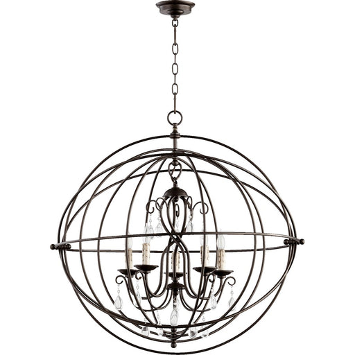 Quorum Cilia Candelabra Chandelier, Oiled Bronze