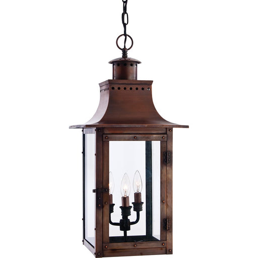 Quoizel 3 Light Chalmers Outdoor Pendant, Aged Copper