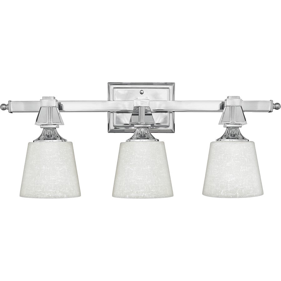 Quoizel 3 Light Deluxe Bath Fixture, Polished Chrome