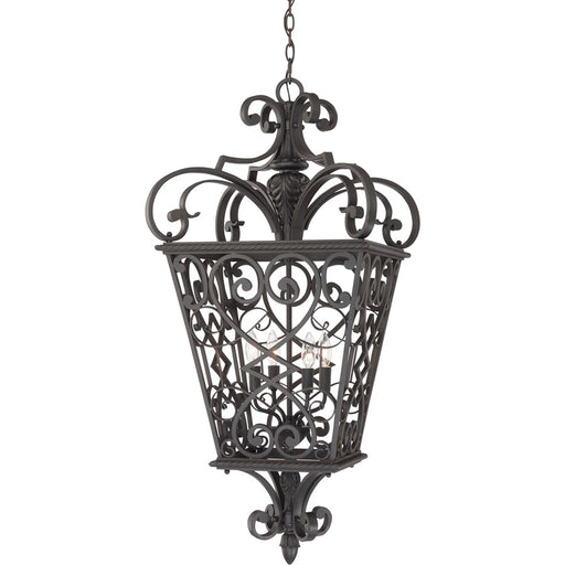 Quoizel 4 Light Fort Quinn Outdoor Pendant, Marcado Black