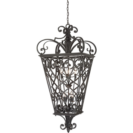 Quoizel 8 Light Fort Quinn Outdoor Pendant, Marcado Black