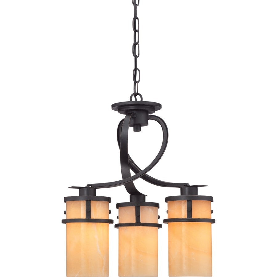 Quoizel Kyle 3 Light Chandelier, Imperial Bronze