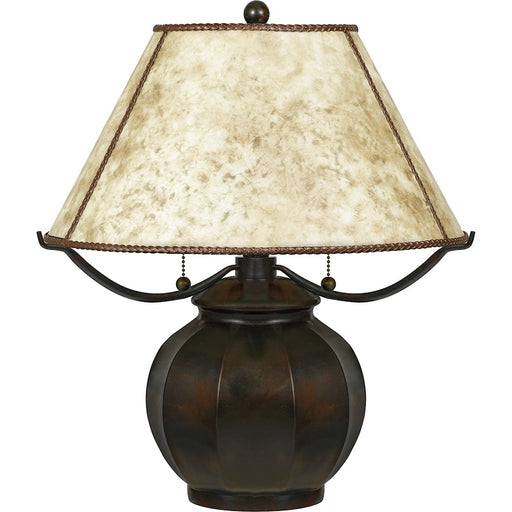 Quoizel Mica 2 Light Table Lamp Mica, Valiant Bronze/Oyster Mica - MC5207TVA
