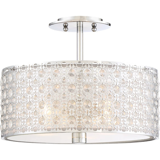 Quoizel Platinum Collection Verity Semi-Flush Mount, 3 Light, Polished Chrome