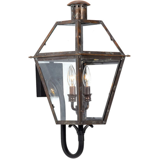 Quoizel 2 Light Rue De Royal Outdoor Wall Lantern, Aged Copper