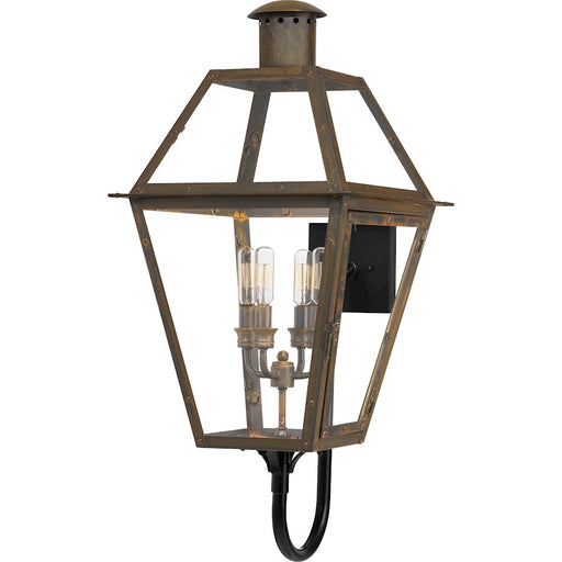 Quoizel Rue De Royal 4 Light Outdoor Wall Lantern, Industrial Bronze