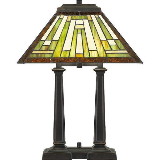 Quoizel Decker 2 Light Table Lamp Tiffany, Russet/Tiffany- TF5208RS