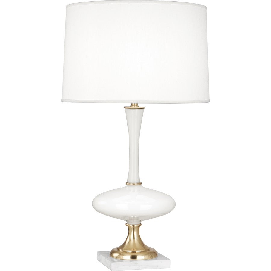 "Robert Abbey Raquel 1 Lt 30"" Table Lamp, White Glass/Brass,White Marble - 480"