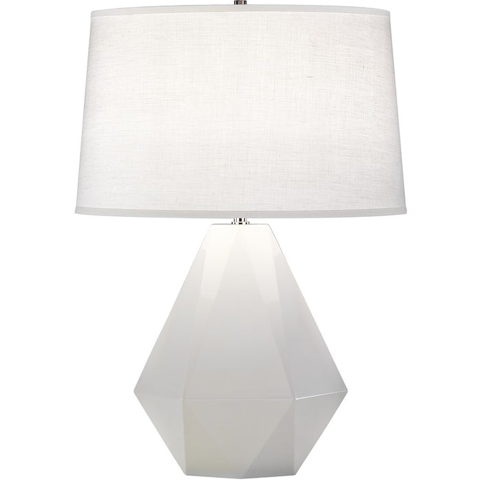 Robert Abbey Delta 1 Light Table Lamp, Lily Glazed Ceramic/Polished Nickel - 932