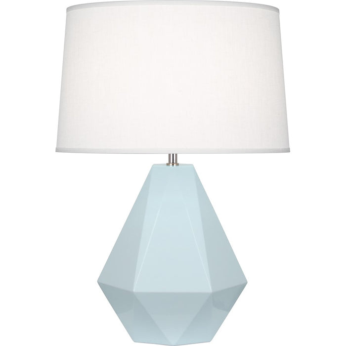 Robert Abbey Delta 1 Light Table Lamp, Baby Blue/Polished Nickel - 936