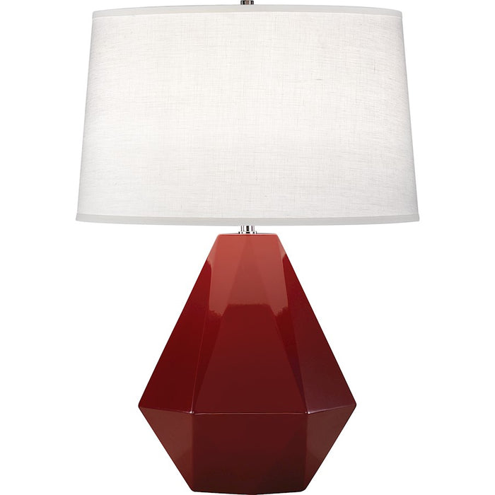 Robert Abbey Delta 1 Light Table Lamp, Oxblood/Polished Nickel - 938