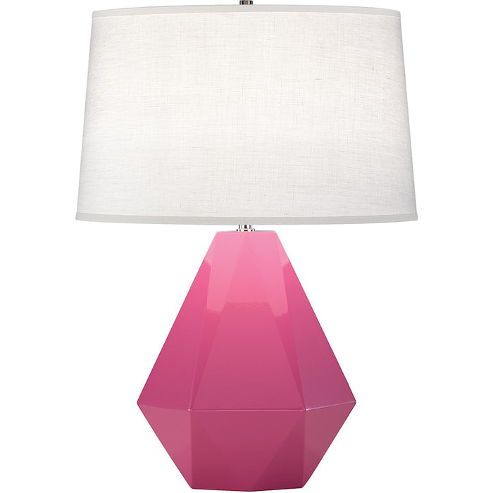 Robert Abbey Delta 1 Light Table Lamp, Schiaparelli Pink/Polished Nickel - 941