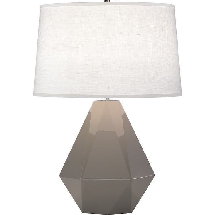 Robert Abbey Delta 1 Light Table Lamp, Smoky Taupe/Polished Nickel - 942