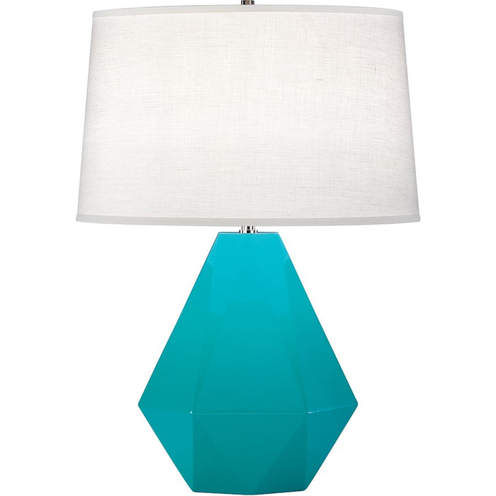 Robert Abbey Delta 1 Light Table Lamp, Egg Blue/Polished Nickel - 943