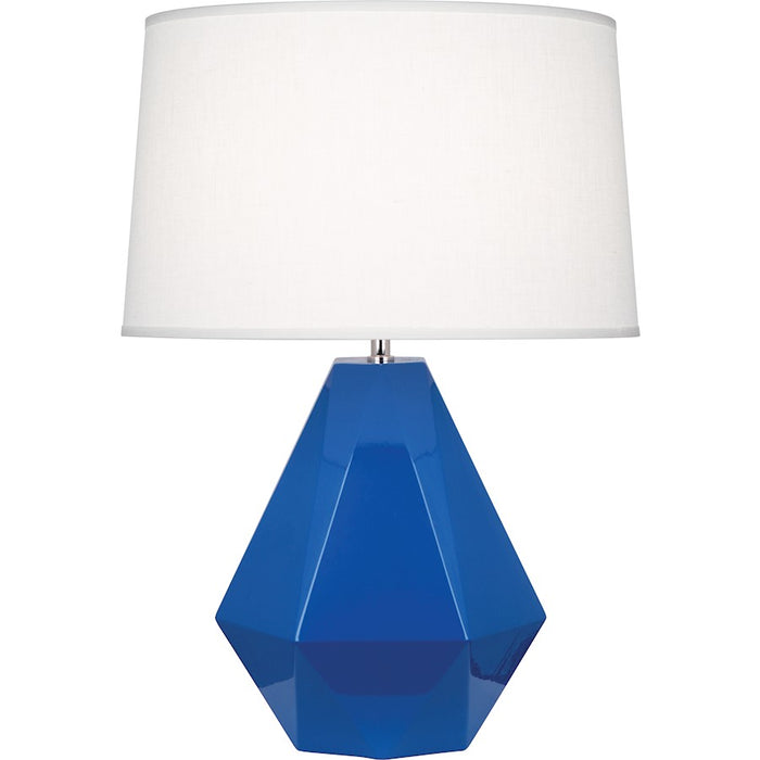 Robert Abbey Delta 1 Light Table Lamp, Marine Blue/Polished Nickel - 946