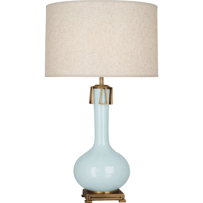 Robert Abbey Athena 1 Light Table Lamp, Baby Blue/Aged Brass - BB992