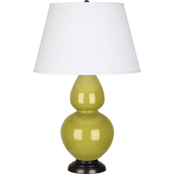 Robert Abbey Double Gourd 1 Light Table Lamp, Citron/Bronze, Pearl - CI21X