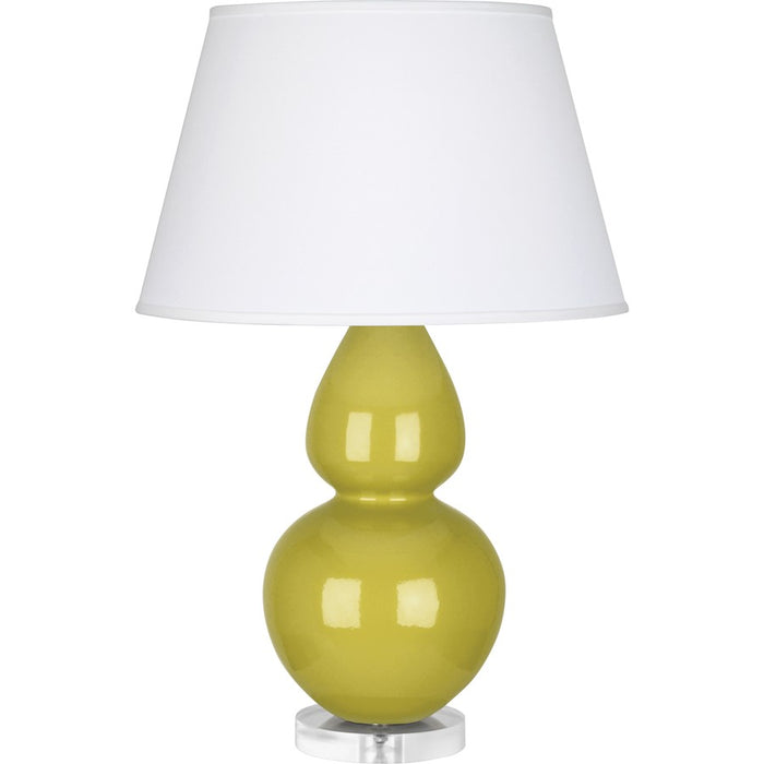 Robert Abbey Double Gourd 1 Light Table Lamp, Citron/Lucite Base, Pearl - CI23X