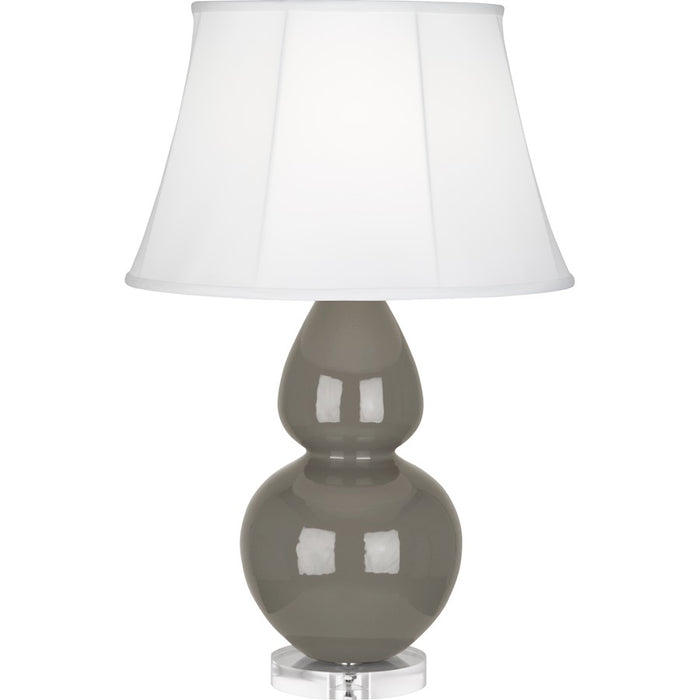 Robert Abbey Double Gourd 1 Light Table Lamp, Ash/Lucite Base, Ivory - CR23